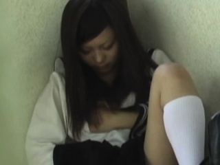 Asian student rubs cunt