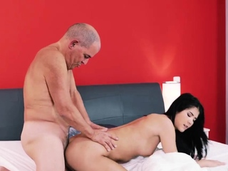 Old man cums in girl..