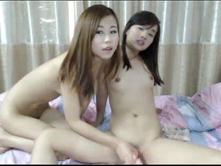 Asian lesbians shtick with..
