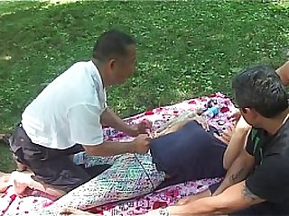 Chinese Rub-down in park